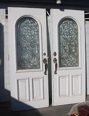 Gorgeous Front Entry Doors With Leaded Glass Solid Wood 60''x78.25''