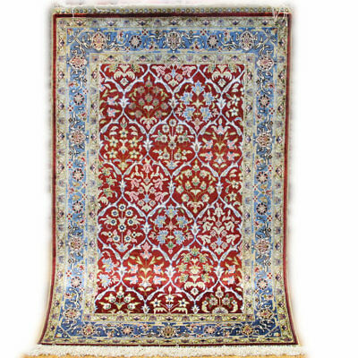 2'X 3' Floral Hand Knotted Natural Silk Persian Rug Dark Red Blue Bedroom Decor