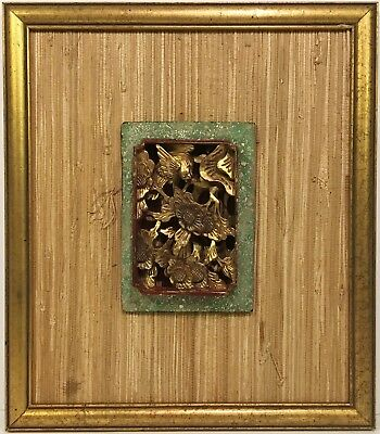 Antique CHINESE CARVED PANEL Mounted in Mid Century Modern Frame