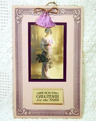 Vintage Antique 1923 Calendar With Victorian Dressed Woman Holding Flowers