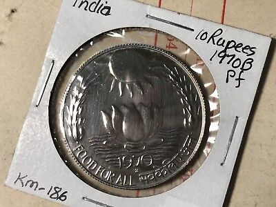 1970B India 10 Rupee foreign coin Proof condition RARE high value