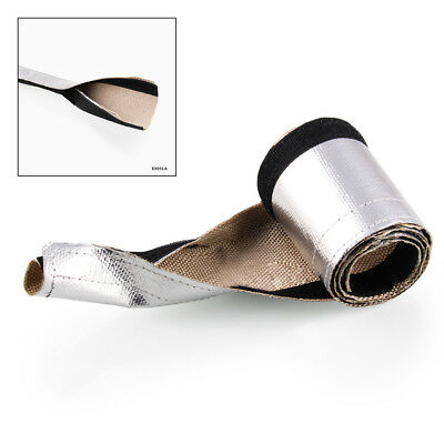 1x Metal Foil Heat Shield Thermal Sleeve Insulated Car Wire Hose Wrap 91x8.5cm