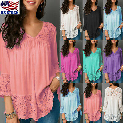 US Womens Lace V Neck 3/4 Sleeve Blouse Tops Summer Casual Tee T Shirt Plus Size