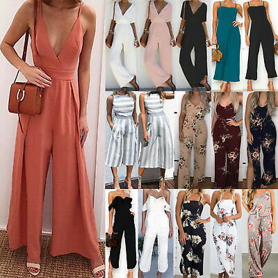 Women's Wide Leg Jumpsuit Party Casual Beach Romper Playsuit Long Pants Trousers