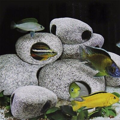 Cichlid Stone Ceramic Cave Aquarium Fish Pond Tank Ornament Shrimp Breeding S YG