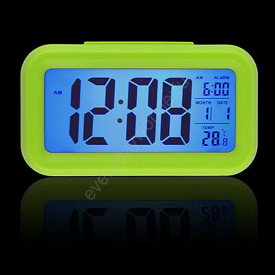 Digital LCD Snooze Electronic Alarm Clock with LED Backlight Light Control DG US