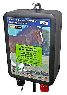 Tractor Factory Shire Electric Fence Energiser 12V Battery 0.6J 2 Year Warranty!