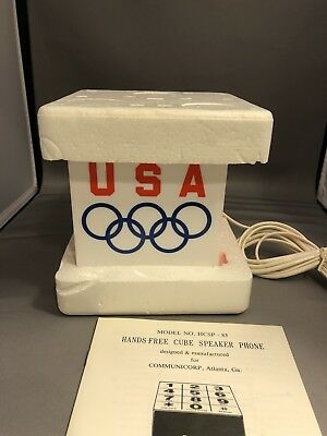 Vintage Coca-Cola Coke Hands-Free Speaker Phone Cube In Box - 1984 Olympics L.A.