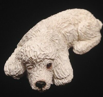 """Vintage NOS Sandicast White Poodle Puppy Napping Small Dog Figurine B39 3.5"""" L"""