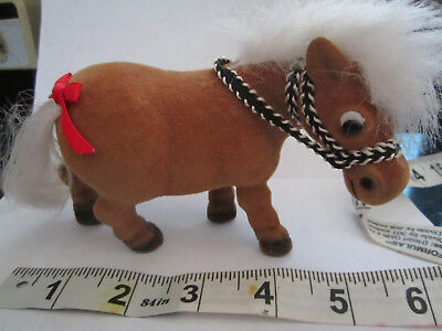 """Thelwell style Vintage """"Kipper"""" Flocked & Haired Palomino Pony w/bridle RARE EXC"""