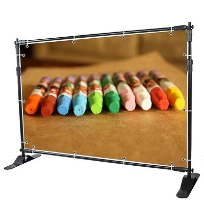8' Telescopic Step and Repeat Banner Backdrop Stand Adjustable Photo Display