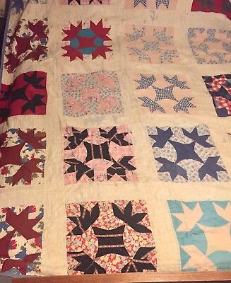 "Charming Vintage Antique Feed Sack by Hand ""Goose Tracks"" Quilt~TLC~Repairs~VVG!"