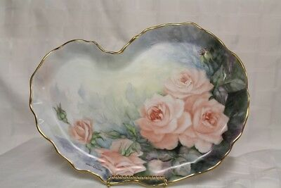 HAND PAINTED ROSES KIDNEY SHAPED TRAY - signed Ellie Christie
