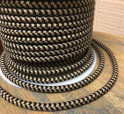 Black/Tan Hounds-Tooth Cloth Covered 3-Wire Round Cord, Retro power cable, USA