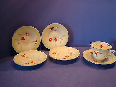 Royal Doulton, V1309 Pattern, Art Deco Teacup And Saucer And Extra Saucers