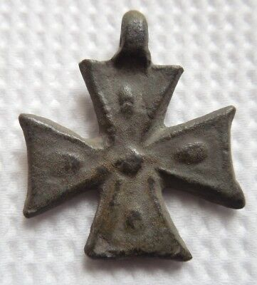 Ancient Medieval Knights Templar Bronze Cross 1200 AD VF++