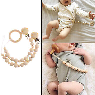 Natural Wood Pacifier Clip Dummy Holder Chew Baby Teether Nursing Soother Toy