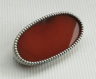 Vintage Art Deco Scottish Edwardian Solid Silver & Carnelian Agate Pin Brooch