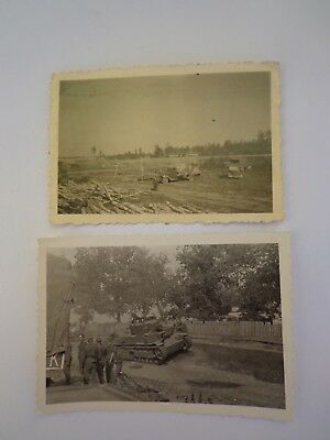 WW2 GERMAN.TWO x PHOTOGRAPHS ON EASTERN FRONT -:- ORIGINAL.USED.