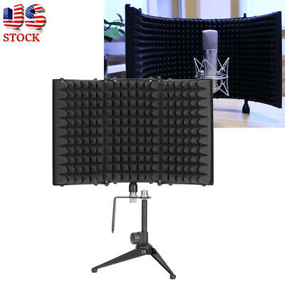 New Music Studio Recording Isolation Sound Absorber Foam Panel Shield Stand Mic