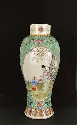 A Perfect Turquoise Chinese Vase With Figural Scenes