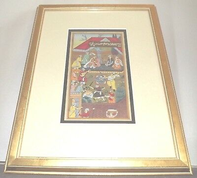 Framed Early to Mid 19th C Sword Dance Miniature Mughal Painting,On Book Page