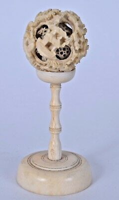 19th century chinese carved canton statue puzzleball on stand qing 32 grams