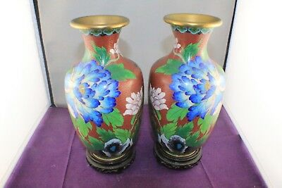 """Vintage Mirror Pair Chinese 8"""" Red Cloisonne Vases with 2 x 3.25"""" Wooden Bases"""