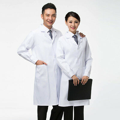 White Woman Classic Stylish Nurse Lab Coat Medical Scrubs Doctor Gown Jacket NEW