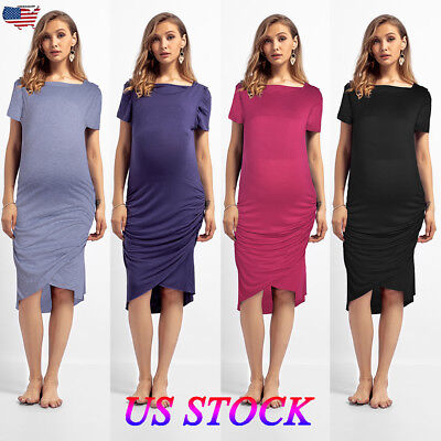 Pregnant Women Short Sleeve Dress Bodycon Maternity Ladies Summer Casual Clothes