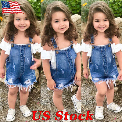 69ee02abbf2 Summer Fashion Toddler Baby Girls Jumpsuit Denim Outfit Clothes Suit Overall