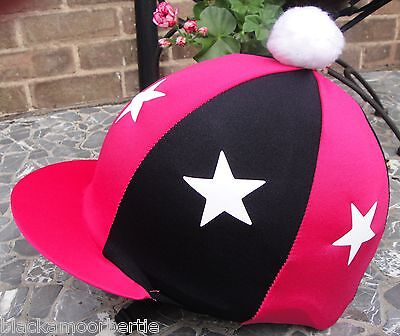 Riding Hat Silk Skull cap Cover CERISE PINK & BLACK WHITE STARS With OR w/o Pom
