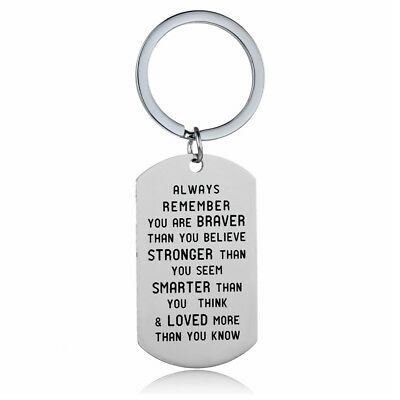 Stronger Inspirational Motivational Friendship Gift Quote Keyring Key Ring Chain
