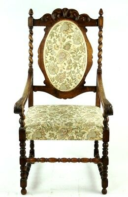 Antique Carved Oak Barley Twist Carver Chair - FREE Shipping [PL3009]