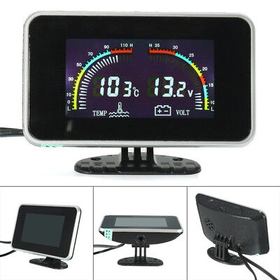 Car LCD Display Volt Meter Water Temperature Gauge Overheat Alarm 12V 24V