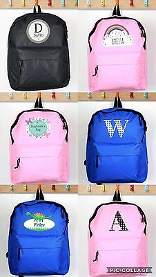 b3e44f0992 Personalised Childrens Backpack Girls Boys Rucksack Back to School Bag Blue  Pink