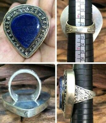 Ring Finger Old Lapis Silver Mixed Stone Lazuli Rare Drop Stunning Patina Lovely