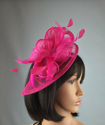 818006a02b898 HOT PINK SINAMAY   Feather Teardrop Fascinator - Wedding Races Hat ...