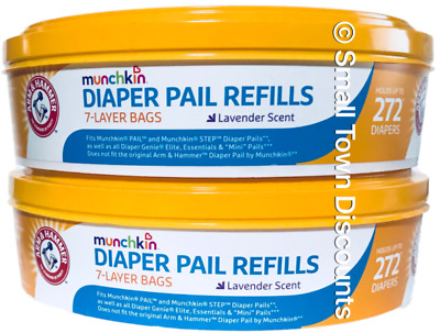 (2) Arm & Hammer Munchkin Diaper Pail Refills Lavender Scent Holds Up to 272 ea