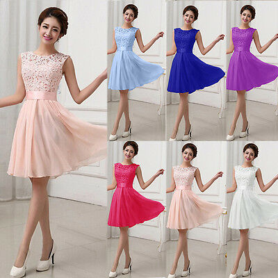 Women Lace Short Dress Ladies Prom Evening Party Cocktail Bridesmaid Wedding UK