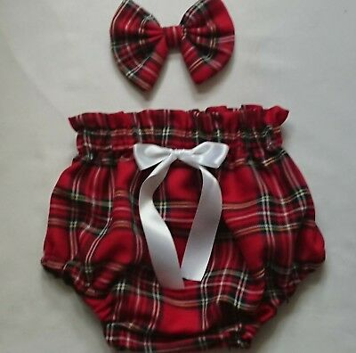 Beautiful Tartan Print Baby's Bloomer and Head bow set girls clothes New