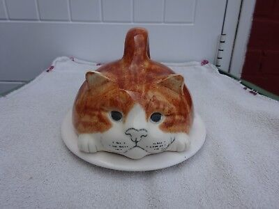 Mike Hinton ginger Cat Handpainted Cheese butter dish ceramic