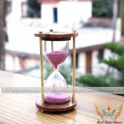Wood & Brass Antique Handmade Pink Sand Timer Collectible Decorative Hourglass