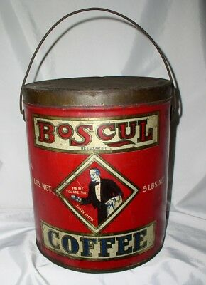 Boscul Coffee 5Lb Tin Can ~ Bail Handle ~ Early Example Litho'd Bold Graphics ~