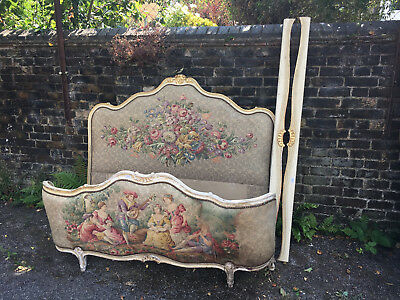 Vintage Carved French Shabby Chic Tapestry Bed