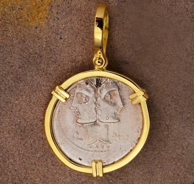 Ancient Roman Silver Denarius Janus Head Coin in 18kt Gold Pendant 114 B.C.
