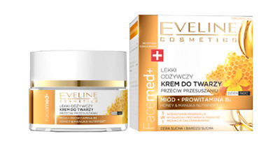Eveline Facemed Face Cream day/Night, Dry ,Very Dry skin, with Honey Manuka