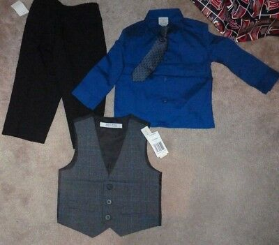 NEW Perry Ellis 4 Piece Dress Shirt Pants Tie Vest Set Boys 2T Toddler Blue/Grey