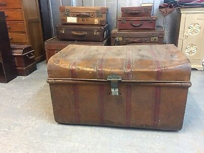 Large Quality Antique Metal Dome Topped Steamer Trunk????????????????????? M2665