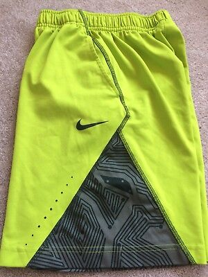 Nike Dri Fit Boy's Sz S Basketball Athletic Shorts Youth S Neon Yellow Green